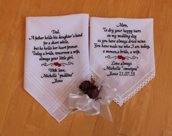 Set of 2 Wedding handkerchief, parents gift, wedding favors,  Mother of the Bride, Father of the Bride custom gifts,Personalize. LS4MS1F23