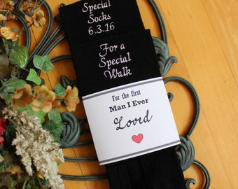 Wedding socks, label included, Special Socks for a Special Walk.Father of the Bride Gift. First man I ever loved, Personalized Socks. F23LB7