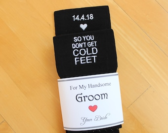So You Don't Get Cold Feet Groom Socks, Available in Grey, Navy or Black Groom Wedding Gifts. Personalised groom gift from bride. SKSXF2