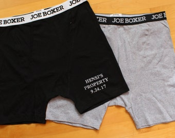 Personalized Gift for Boyfriend Boxer Shorts BLACK,GREY,Fitted, Custom Date,Anniversary Gift, Gag Gift, Embroidered, Men Underwear