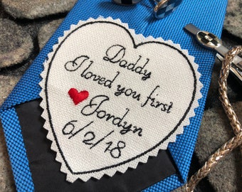 Wedding Tie Patch Father of Bride, Heart Patch, Suit Patch, I loved you first, Custom Embroidered Tie Patch, iron-on option,TB11B