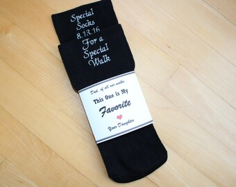 Special Socks for a Special Walk Wedding Socks. Custom Socks. BLACK Formal Socks Father of the Bride Gift. Monogram, Personalized. F23LB0