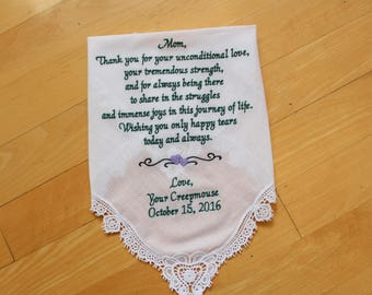 Mother of the Bride gift, wedding handkerchief, Mother of the Bride Gift, embroidered, wedding gift, custom, personalized gift. LS0F23