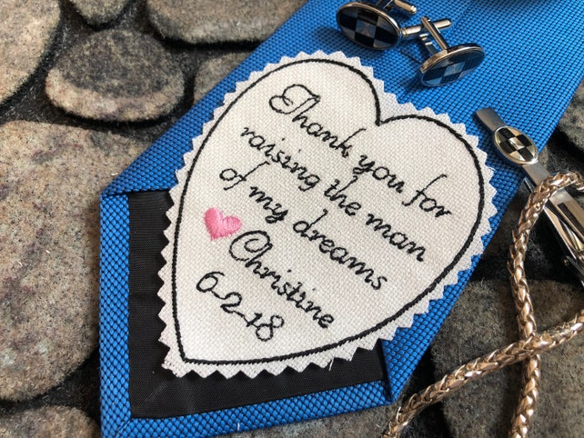 Father of the Groom Gift from Bride, Personalized Embroidered Heart Patch, Thank you raising man of my dreams, sew or iron, heart PINK