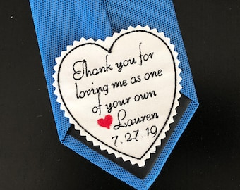 Wedding Tie Patch Stepfather of Bride, StepDad Personalised Heart Patch, Thank you for loving me as your own, Embroidered Patch