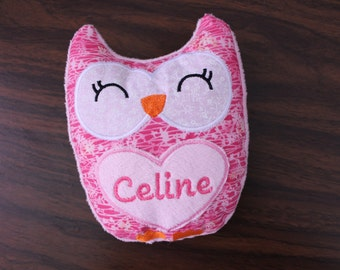 Personalized Owl Plush, Toy, Pillow Softie, girl, baby toy, nursery decor, custom, monogram owl, plushies, owl stuffy, gift for new baby