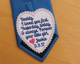 Daddy I loved your first, heart Tie Patch, today a bride, tie label, Embroidered Patches,Father of the Bride Gift, iron-on available,S7
