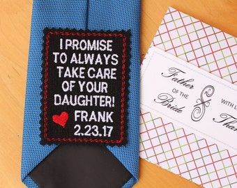 Father of the Bride Gift from Groom, Tie patch with gift box, ready to give, Father in law gift from groom, wedding favor, personalized