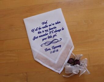 Of all the walks we've taken, wedding hankerchief, father of the bride gift , Dad Handkerchief. Thoughtful Gift. Wedding, MS3F38