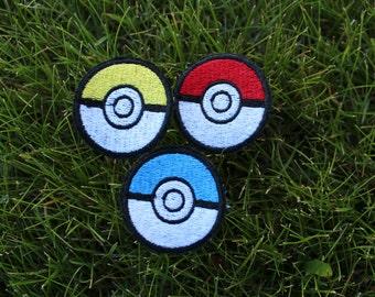 Set of 3, Patches, Pokemon, Pokeball Patch, Red & White, Blue pokeball, Yellow and White, Pokeball, Pokemon Go, Pokeball, Iron-On, Pokeballs