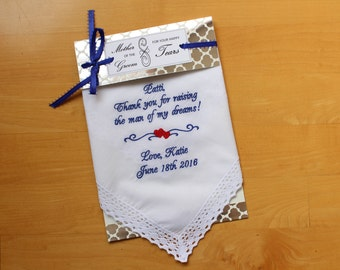 Mother of the Groom handkerchief, Thank you for raising, wedding FAVOR, hanky, hankies, Mother of the Groom Gift. Personalized. LS4F38