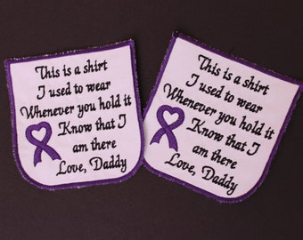 Set of 2 Cancer Awareness Ribbon Memorial Pillow Pocket Patch. This is a shirt I used to wear. White cotton.  Heart Ribbon. F23.