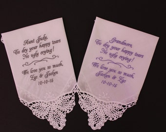 Wedding Handkerchief Grandma. Monogrammed Handkerchief. Mother of the Groom and Bride. Custom verse,Personalized. LS0F38