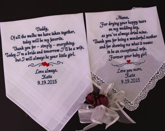 Set of 2 Wedding Hankies Father & Mother of the Bride handkerchiefS.  Wedding gift. parents gift, custom message LS0MS1F23
