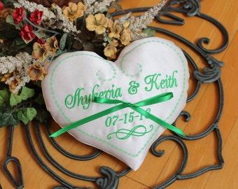 Custom Heart Ring bearer pillow, Rribbon, personalize, heart shaped, Infinity sign, Custom Ring Pillow, Monogrammed, Custom embroidery 7x7