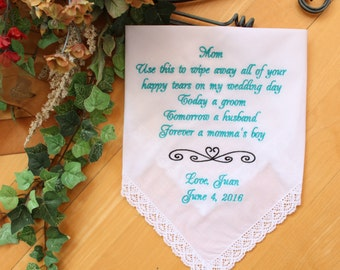 Mother of the Groom gift from groom, heart symbol, motif, design, wipe away all your happy tears, Mother of the Groom hankie,  LS6F38