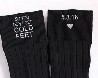 So You Don't Get Cold Feet Socks, Groom Wedding Gifts. Wedding Monograms. Personalized Wedding Socks. Personalized Wedding. Snugahug. F2