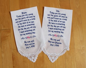 Flower Girl Wedding handkerchiefs-Set of 2-Flower Girl-EMBROIDERED-PERSONALISED-Lace Hankerchief-Wedding Hankies-Wedding favor-LS5FCAC