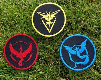 Pokemon Patch, Pokemon badge, Pokemon team Badge, team Instinct badge, team Valor patch, team Mystic, Pokemon Go Patch, iron on