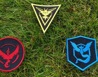 Iron-On Pokemon Go Team Patches, Pokemon Patch, Pokemon Badge, Instinct, Valor, Mystic, Pokemon Go, Team, Patch, Pokemon Go Patch, Pokemon