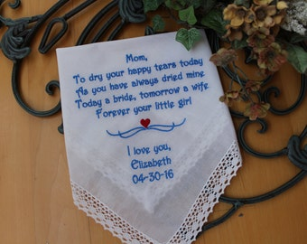 Mother of the Bride handkerchief, wedding Hankies. CUSTOM Handkerchief. Mother of the Bride Gift. Wedding Gifts. Personalized . LS0F21