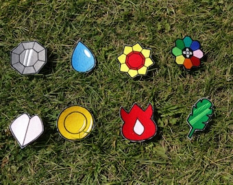 Whole Set of 8 Iron-On Pokemon Badges, Kanto, Indigo League, Pokemon, Boulder, Cascade, Thunder, Rainbow, Soul, Marsh, Volcano, Earth, Patch