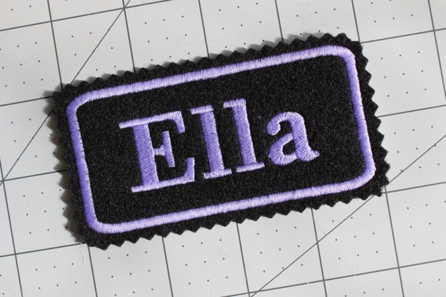 Custom Felt Iron-on Name patch, 4x2 inches, Jagged edging, name label,  Monogrammed Personalised name tag, embroidered name patch F16