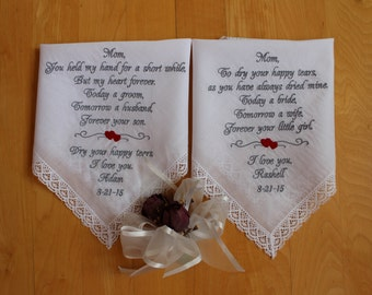Set of 2 Wedding Hankies, embroidered Hanky, Mother of the Bride and Groom Gift. Wedding Gifts from bride and groom, favor. LS6F38SV105