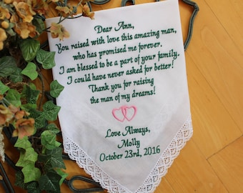 Mother of the Groom gift from bride, Wedding Handkerchief, hanky, custom EMBROIDERED Hanky, double hearts, wedding favor, LS0F23SV110
