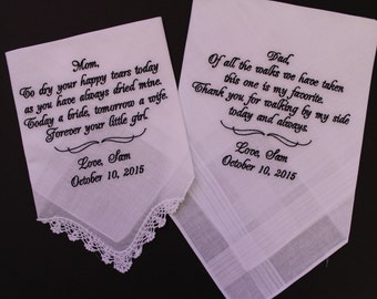 Set of 2 Wedding Hankies -. Father and Mother of the Bride Gifts. Personalized Hankies, Hanky, embroidered, custom. LS2MS1F38