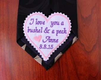 Father of the bride GIFT, Custom note tie patch. Embroidered patch, monogram, Dad Tie Patch,Embroidery, Heart patch, Dad gift, F23