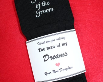 Father of the Groom Socks. BLACK Wedding Socks, thank you for raising man of my dreams socks. personalized father of groom gift.  F23LB10