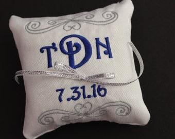 Ring bearer pillow, Customizable wedding ring pillow, Monogrammed square ring pillow , Custom embroidered ring bearer pillow, 4x4 7x7