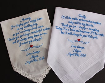 Embroidered Wedding Handkerchief Mother & Father of the Bride PARENTS GIFT,Set of two Wedding Gifts for Mom and Dad,hankerchief,LS17-MS1 F23