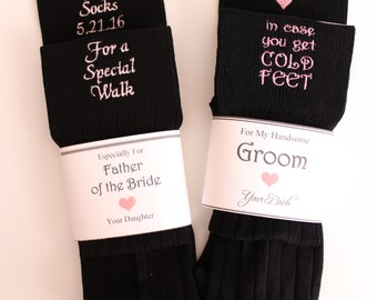 Set of 2 Pairs of BLACK Wedding Socks. Embroidered Socks, in Case Cold Feet Grooms socks. Cute Dad and Groom Gifts. Sock, F21LB1-F23LB8