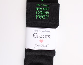 In Case You Get Cold Feet Grooms socks. Groom gift. Funny Wedding Gifts. Groom gag gift. Cute fun gift for groom from bride, F21LB1