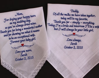 Set of 2 Wedding handkerchief, Father of the Bride, Mother of the Bride gift, wedding hankies, heart motif, parents wedding gift,LS0F23