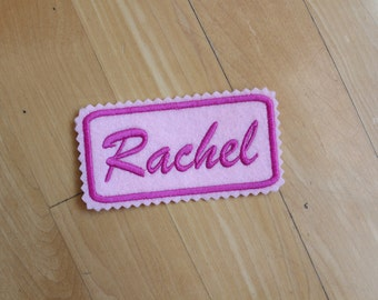 Custom Felt Iron-on Name patch, 4x2 inches, Jagged edging, name label,  Personalised name tag, embroidered name patch, for stocking, F5