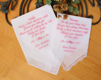 Wedding Handkerchief, set of 2. Mother and father of the Bride gifts, Custom Gift, Hankie, parents of the bride, Personalized. LS0F38
