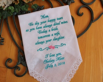 Mother wedding gift, mother of the bride handkerchiefs,Embroidered Personalised Gift, to dry your happy tears, wedding favor, LS6F38