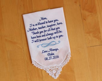 Wedding Hankerchief-Mother of the Bride Gift from the Bride-EMBROIDERED-CUSTOMIZED-Wedding Handkerchief-Mother of the Groom gift-LS0F23