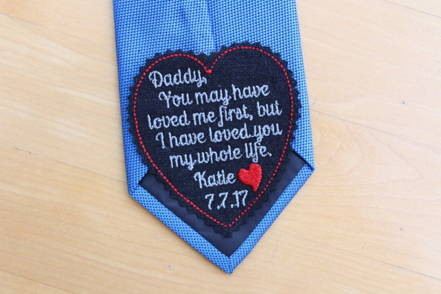 Dad Tie Patch, heart tie label, black, Beautiful Embroidered, Gift for Dad from Bride, Father of the Bride Gift. iron-on available, S13