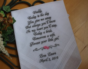 father of the bride gift from bride, Embroidered handkerchief,Dad wedding hankies.Thoughtful Gift for Dad. MS1F38