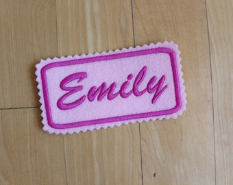 Custom Felt Iron-on Name patch, 5x2 inches, Jagged edging, long name label,  Monogrammed Personalised name tag, embroidered name patch F5