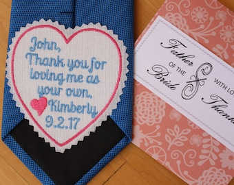 Step father tie patch with Gift Box, stepdad wedding gift from Bride, thank you for loving me as your own, iron-on available, EMBROIDERED