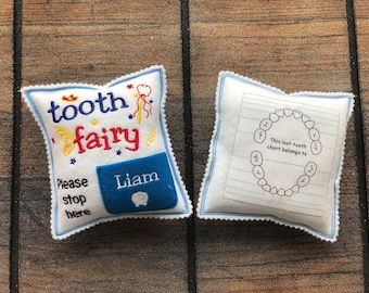 Personalized Tooth fairy pillow boy with tooth chart, custom tooth holder with pocket, stocking stuffer and birthdayday gift for kids