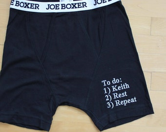 Boyfriend Boxer Shorts, Personalized Gift for Boyfriend,Gift for Groom, Honeymoon gift, Underwear, embroidered