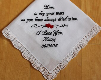Mother of the Bride hankie, wedding handkerchief, Mother of the Bride Gift, embroidered, wedding gift, custom, personlized gift. LS0F38