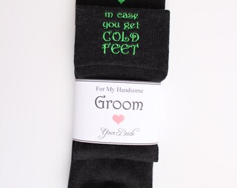 In Case You Get Cold Feet Grooms black wedding socks. cold foot socks gift. Cute Wedding Gifts. Peronalizsed Sock, Monogrammed Socks. F21LB1