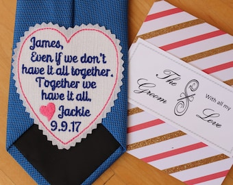 GROOM Tie Patch with gift box, together we have it all, tie label, Embroidered Tie Patch Groom Gift from Bride, personalized heart patch